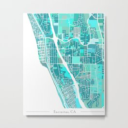 Encinitas California Map Metal Print