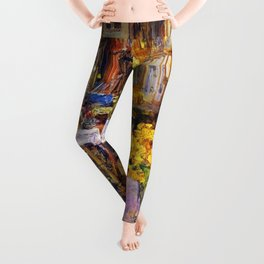 Classical Masterpiece 'The Room Full of Flowers' by Frederick Childe Hassam Leggings