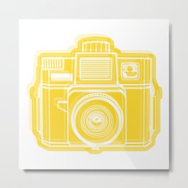I Still Shoot Film Holga Logo - Sunshine Yellow Metal Print