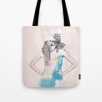 raccoon Tote Bags featuring Raccoon Love by Ariana Perez