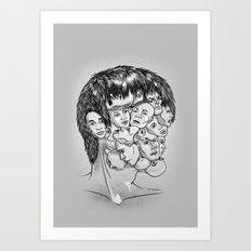 Face Lock BW Art Print