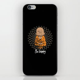 Be Happy Little Buddha Black iPhone Skin