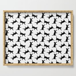 Cats Black on White Serving Tray