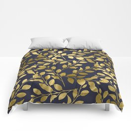Gold Leaves on Navy Comforters