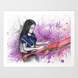 Weaver Girl Chiapas Art Print