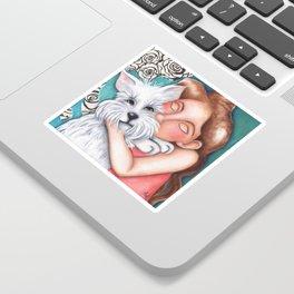 Sweet Coconut Original Art Schnauzer and girl Portrait Sticker