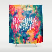 hakuna Shower Curtains featuring Hakuna Matata Painted Clouds by Caleb Troy