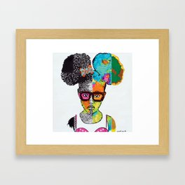 Girl with Afro Puffs Framed Art Print