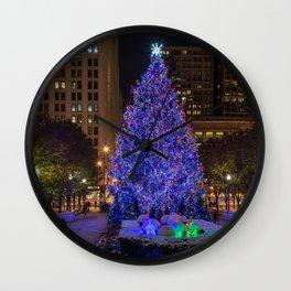 Photos Chicago city USA Christmas Christmas tree E Wall Clock
