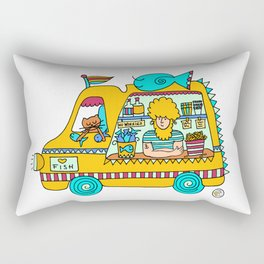 fish and chips food truck cool dude Rectangular Pillow