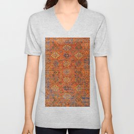 Oriental Vitange Moroccan Rug Design Unisex V-Neck