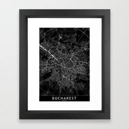Bucharest Black Map Framed Art Print
