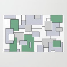 Squares - green, gray and white. Rug