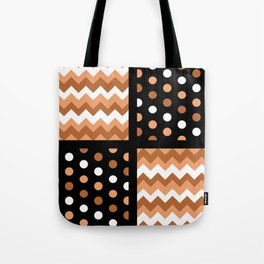 Black/Two-Tone Burnt Orange/White Chevron/Polkadot Tote Bag