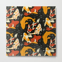 Koi in Black Water Metal Print