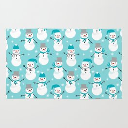 Snowman winter holiday pattern seasonal decor furnishing gifts for kids Rug