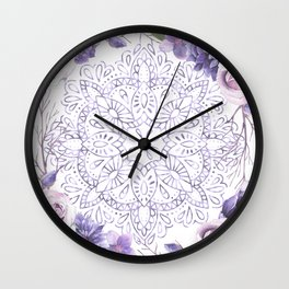Mandala Rose Garden Lavender Purple Violet Wall Clock