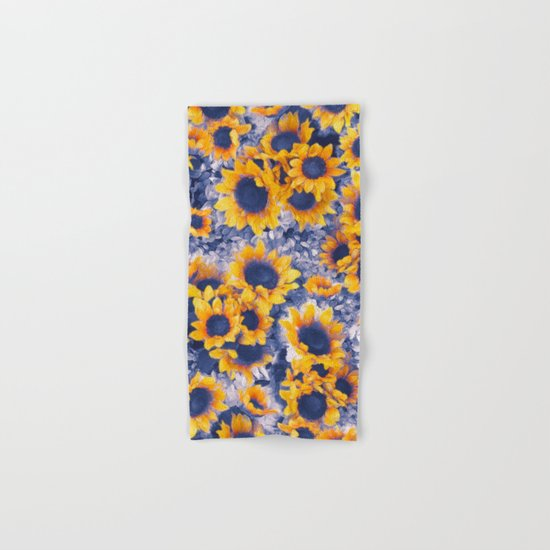 Sunflowers Blue Hand & Bath Towel