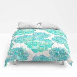 Rosette Succulents – Turquoise Palette Comforters