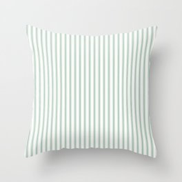 Mattress Ticking Narrow Striped Pattern in Moss Green and White Throw Pillow