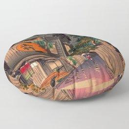 Tsuchiya Koitsu - Evening at Ushigome - Japanese Vintage Woodblock Painting Floor Pillow