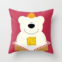 japanese Throw Pillows featuring JAPANESE by SANTA