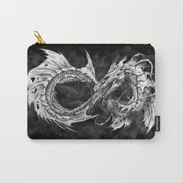 Ouroboros mythical snake on black cloudy background   Pencil Art, Black and White Carry-All Pouch