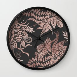 Chic Rose Gold and Black Floral Drawings Wall Clock