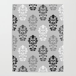 Heart Damask Art I Ptn Black White Greys Poster