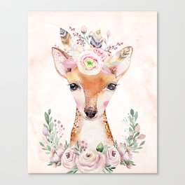 Forest Fawn Floral Pink by Nature Magick Canvas Print
