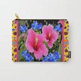 GREY PINK TROPICAL HIBISCUS BLUE-YELLOW FLOWERS Carry-All Pouch