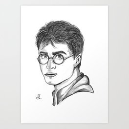 Harry- Daniel Radcliffe Ink Portrait Art Print