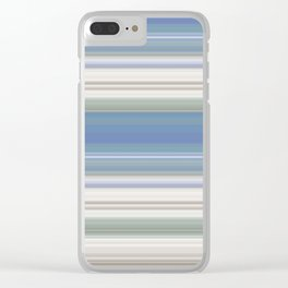 Blue and Neutral Color Stripe Design Clear iPhone Case