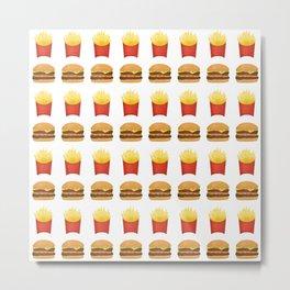 Burgers and Fries Pattern Metal Print