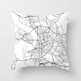 Dusseldorf Map, Germany - Black and White  Throw Pillow