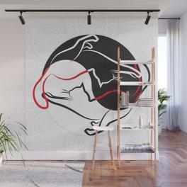 Cats - Mandala and Jin Jang Wall Mural