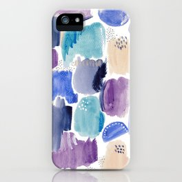 Marking making abstract pattern - deep blue purple peach and teal iPhone Case
