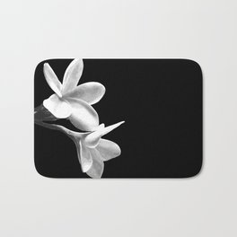 White Flowers Black Background Bath Mat