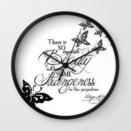 'Strange Skullerflies' -  Quotes - Edgar Allan Poe Wall Clock
