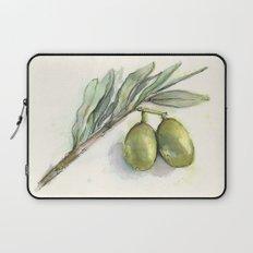 Olive Branch | Green Olives | Watercolor Illustration Laptop Sleeve