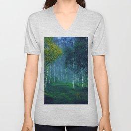 White Birch Forest, New England Landscape Unisex V-Neck