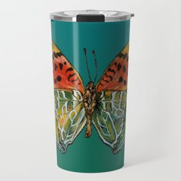 Himalayan Fritillary Butterfly - Emerald Green & Orange Red Travel Mug