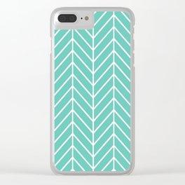 Turquoise Herringbone Pattern Clear iPhone Case