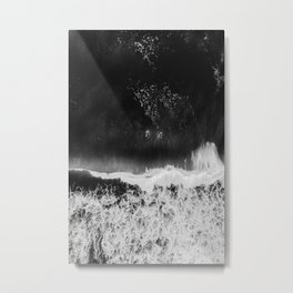 Surfer girls from above in Ericeira Portugal | Ocean wanderlust photography black and white print Metal Print