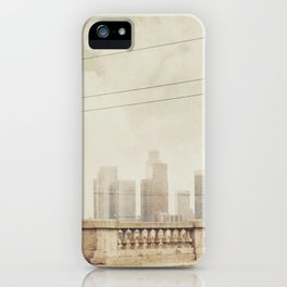 downtown Los Angeles skyline photograph. June Gloom iPhone Case