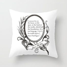 "Jane Austen ""In the Middle"" Throw Pillow"