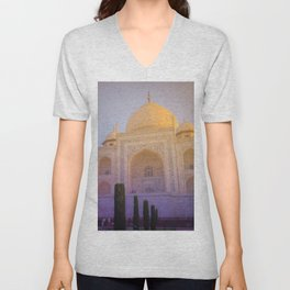 Morning Colors over Taj Mahal Unisex V-Neck