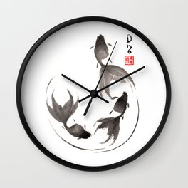 Follow the Leader - Goldfish Sumi-e Painting Wall Clock