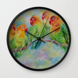 LOVE BIRDS Wildlife Tropical Parrots painting Pastel colors decor for bird lover Wall Clock