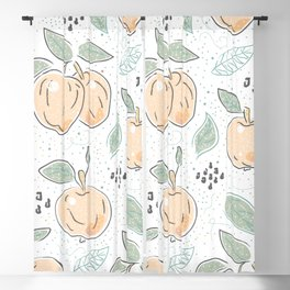 Seamless Pattern with Hand Drawn Cute Apples Blackout Curtain